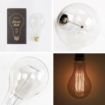 フィラメントがいろいろな形をしたカーボン電球。1880年代のエジソン球を復刻したもので、懐古的な雰囲気がぬくもりを感じさせます。自分時間を優しく照らしてくれる灯りは、秋の夜長にもぴったり。癒されます。