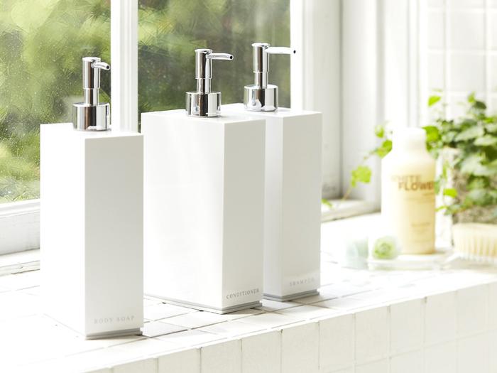 ■バス・トイレ収納 2way dispenser Veil  バスルームに欠かせない、シャンプーやボディソープのボトルもお気に入りのアイテムにチェンジしませんか。すっきりとした清潔感が魅力的なシンプルなボトルは、ホテルのようなラグジュアリーな印象に♪
