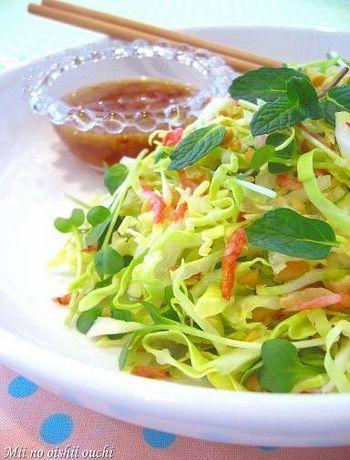 キャベツのサラダはシンプルになりがちですが、味に工夫を凝らすことでいつもとは違ったおしゃれサラダになります。こちらは、ピーナッツや干しえび、ミント、ヌクマムなどを使ったベトナム風。しかも、切って混ぜるだけで簡単です!