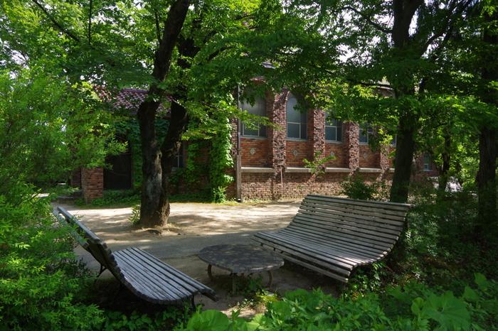 建物の脇にはベンチが。夏は木陰になって一休みするのにおすすめです。木々に覆われているので、周囲よりも涼しくなっています。秋には紅葉も見事ですよ。