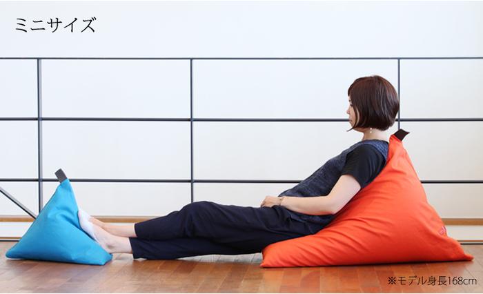 大きさも用途に合わせて3種類あり、画像左のミニサイズは、足置きやソファの上のクッションなどにピッタリ。画像右のレギュラーは、背もたれにしてゆったりくつろいだり、軽く腰をかけたりして座椅子代わりに使用できる、使い勝手の良い大きさです。