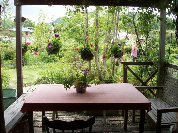 写真集にもポーチで花に囲まれてお茶をする写真が残っていますが、まさにそんな光景。