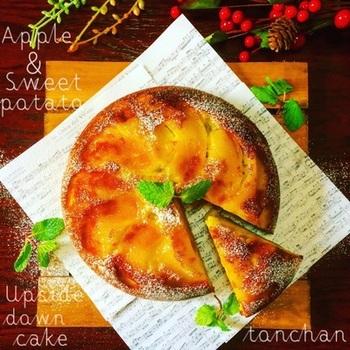 家にオーブンがない…という方は炊飯器でも作れちゃいます!こちらは炊飯器で作ったリンゴとサツマイモのアップサイドダウンケーキレシピ。