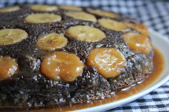 こちらはチョコ×バナナのアップサイドダウンケーキ。チョコバナナと言えば、定番の美味しさですよね。