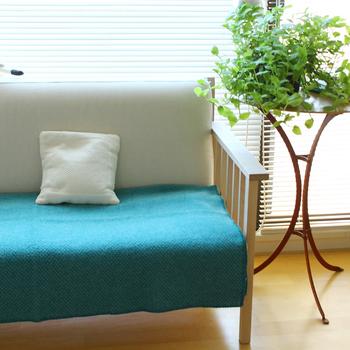 座面に敷くとソファの印象がグッと変化します。その日によって、色柄を変えて使ってみるのもおすすめです。