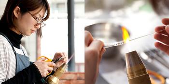 機械化されつつあるガラス加工を、原点に立ち返り丁寧に作りたい…そんな想いから生まれた「ハリオランプファクトリー」では、若い職人さんたちが伝統技術を受け継いでいます。