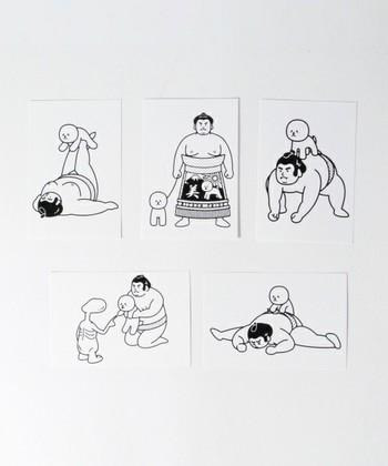 ▪️八重樫王明(OKIMI)  SUMOBICHON SPECIAL PACK  東京からアートを発信するプロジェクト「TOKYO CULTUART by BEAMS」のポストカード。コミカルな作風が人気のイラストレーター八重樫王明(やえがし きみあき)さんの作品はシンプルながらインパクト大!
