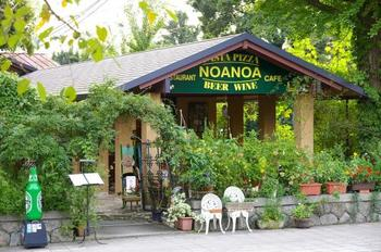 関雪の孫にあたるご夫妻が昭和40年代にオーナーとなり、庭に新館を建築し「イタリアン料理店」として始められたのがこの「NOANOA」。  新館のテラス席やテーブル席で、美しい緑と洋館を眺めながら食事をいただくことができます。