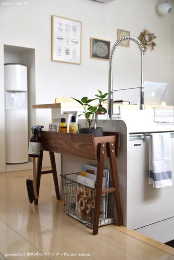 スマートなプランターは、グリーンは勿論、よく使う小物なども一緒に収納してインテリア兼収納棚に。