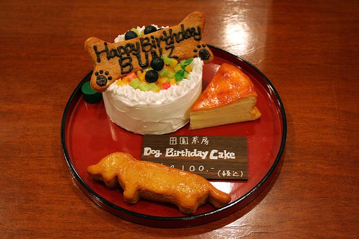ワンちゃんのお誕生日にはこんな素敵なバースデーケーキでお祝いするのもいいですね。