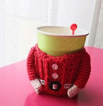 coffee cozyに遊び心をプラスして。お洋服バージョンなどはいかがでしょう。
