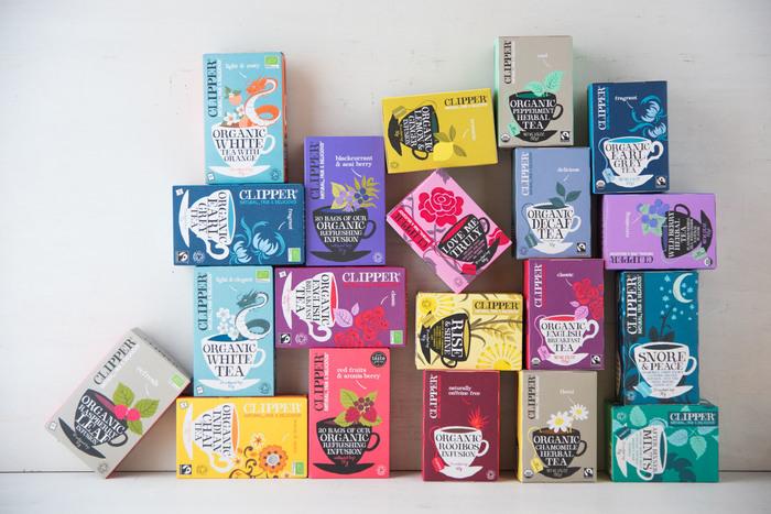 CLIPPERなら、ノンカフェインのものも充実。ルイボスティー、カモミールティー、ペパーミントティーなどおいしいハーバルティーが豊富です。おいしいだけでなく、パッケージのかわいらしさも魅力!