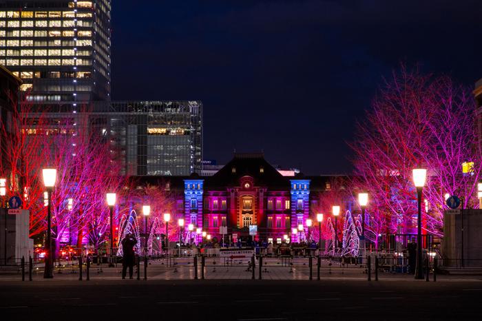 東京ミチテラスは、いつも大勢の人々で賑わう東京駅と丸の内エリアを灯すイルミネーションです。無数の灯りで煌めく街路樹の並木は、七色の光を浴びて壮麗な姿となった東京駅駅舎の魅力を引き立てています。