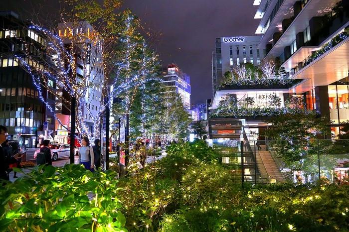高級ブティックが軒を連ね、洗練されたエレガントな魅力を放つ「東京スクエアガーデン」。シャンパンゴールドに輝くLED電球で装飾された街路樹や、銀座が持つ気品あふれる優美な雰囲気を引き立てています。