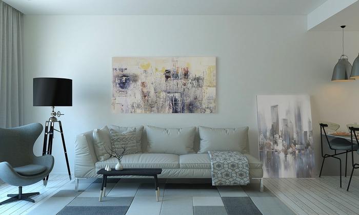 いろんな濃淡のグレーを組み合わせたブロックデザインのラグは、お部屋にちょっとした遊び心を持たせてくれます。絵画を飾ったアートな雰囲気ともマッチしていますね。