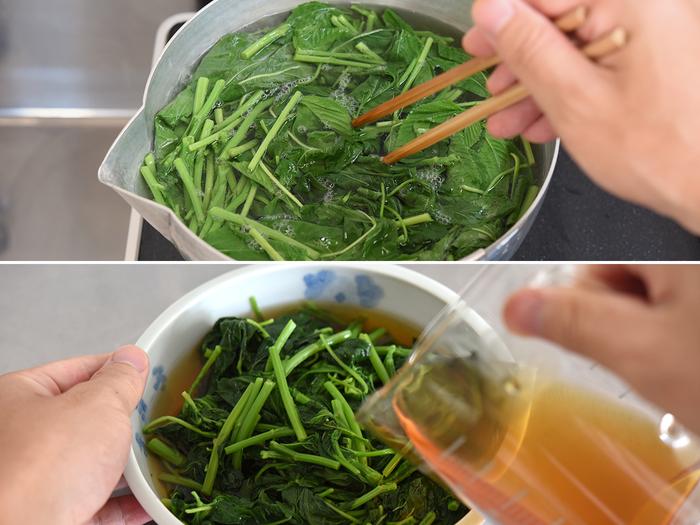 先に茎から、続いて時間差で葉を鍋に投入し茹でたら、ざるに上げて冷水へ。ゆで時間はトータルで1分ほどです。水気を切って、合わせたお浸しの地に漬け込み冷蔵庫へ。ぬめりがあるので味がのりやすく、漬け込み時間は20~30分でOK。