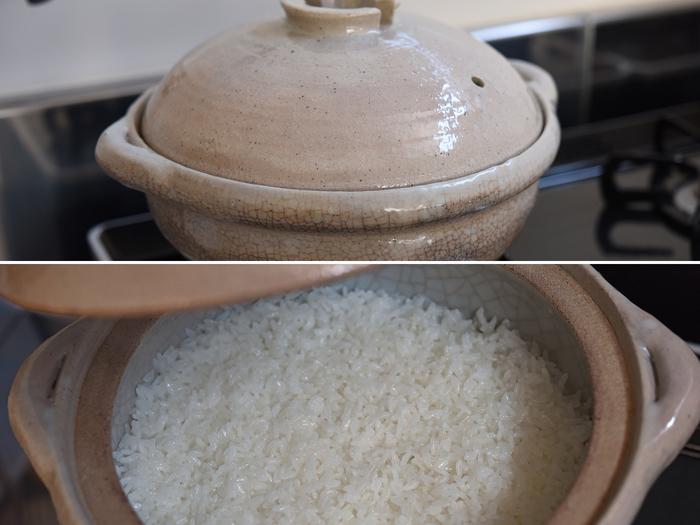 蓋をあけてみて水気が残っていないことを確認したら火からおろして10分蒸らします。おろす前に中火に戻して10秒ほど加熱すると、より効果的。ふっくら美味しい土鍋ごはんが完成です!