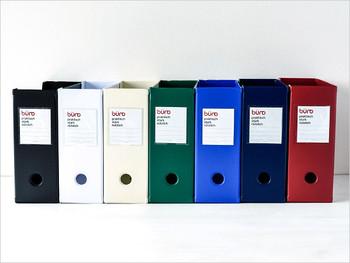 カラーバリエーションも豊富。鮮やかな色合いも素敵です。どの色を選ぼうか迷っちゃいそう。同色のファイルボックスで揃えて統一感を出すのもヨシ、お好みのカラーを選ぶもヨシ。お部屋に合わせて選んでみてくださいね。