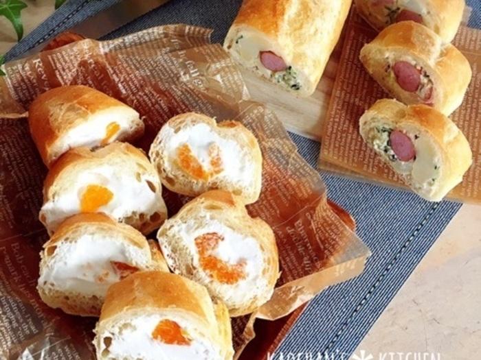 切り口がキュートなポテトサラダ&ウインナーのスタッフドバゲットと、生クリームにみかんのスイーツ感覚で食べられるスタッフドバゲット。どちらも見た目が可愛いですね。