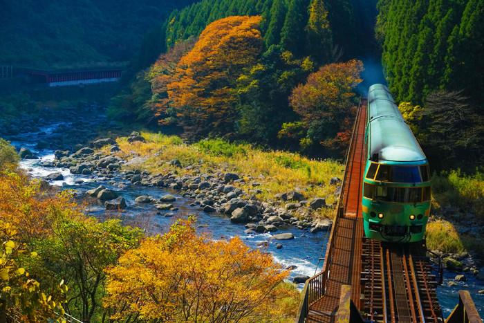 湯布院に行くならぜひ乗ってみたい列車が、博多〜湯布院間を走る「ゆふいんの森号」。窓の外に広がる美しい自然や、木のぬくもりあふれるナチュラルなインテリアに大人女子もワクワク♪
