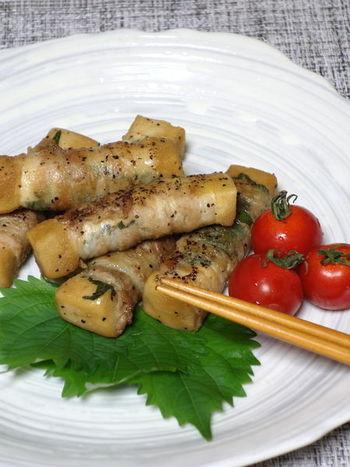 高野豆腐は煮物のイメージが強いですが、味の染み込みが良く、アレンジレシピが豊富。甘辛タレが染み込んだ豚肉巻は、ご飯にもお酒にも合うレシピです。お子様にも◎。