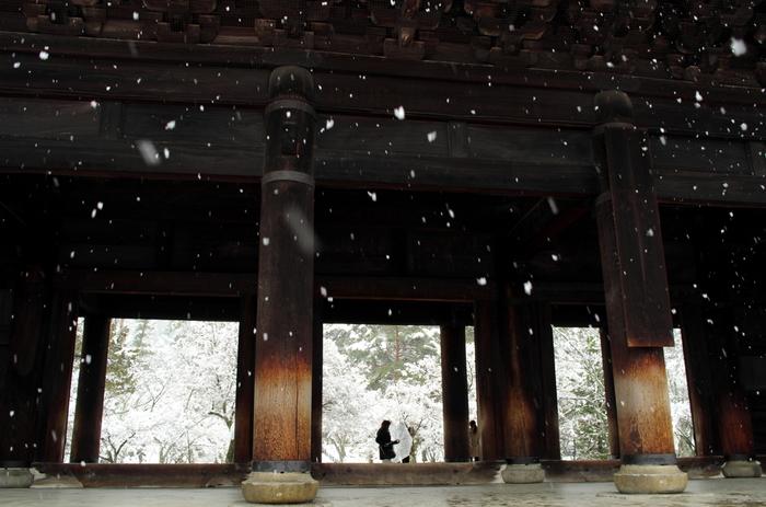 広大な境内は、緑豊か。春は桜、秋は真紅の紅葉で彩られますが、夏の緑も、冬の雪景色も趣きがあり、季節折々に詩趣に富んだ景色が広がります。「南禅寺」で必見なのは、日本三大門の一つ「三門」と国宝の「方丈」です。【2月中旬の三門。】