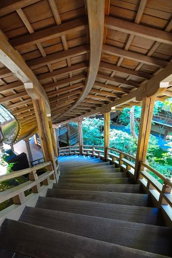 """「御影堂」と「開山堂」を結ぶ「臥龍廊」は、急斜面の岩肌をつたうように上る、屋根付きの渡り廊下です。回廊の外観が、まるで""""龍""""のようであることから、その名が付けられています。"""