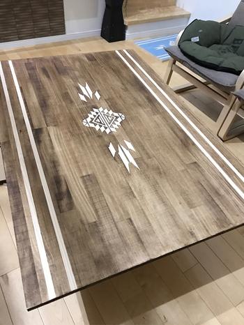 天板にデザイン性があるタイプも。カフェ風インテリアと相性の良いマットブラック塗装に、オルテガ柄のペイントが素敵。すでにこたつをお持ちなら、天板だけ乗せ変えるという方法も◎