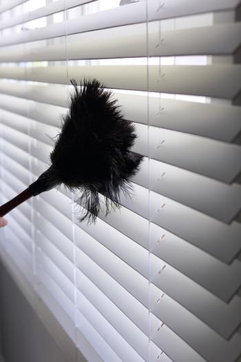 汚れが蓄積する前に、羽ぼうきでブラインドを撫でる習慣をつけておけば、大掃除の必要がなくなります。毎日のちょっとした時間でできるので、手におさまりのいいサイズの羽ぼうきを見つけるといいですね。