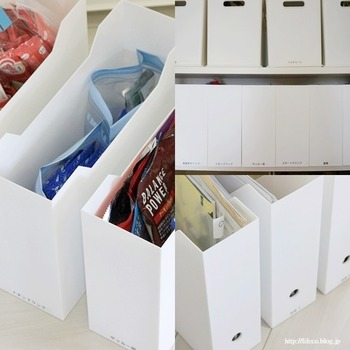 中身はこのように日用品や食材のストック品に書類など。どのような物にもきちんと置き場を決めて作ることで、分かりやすく使い勝手の良い収納が叶います。家族みんなで共有しやすければ、片付けも楽に。