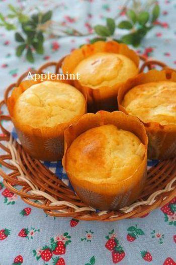 しっとりと美味しい「アップルマフィン」。朝食用に作るのも◎バターとりんごの豊かな味わいで、幸せな時間が過ごせそうです*