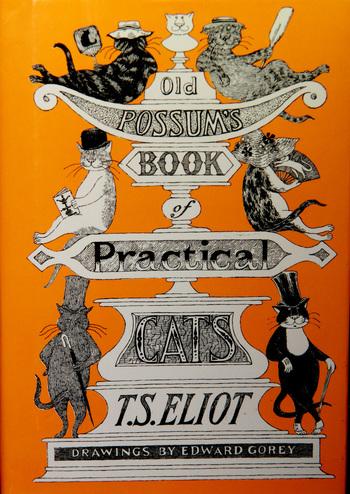 「キャッツ ポッサムおじさんの実用猫百科」T.S. エリオット (著), Thomas Stearns Eliot (原著), Edward Gorey (原著), 小山 太一 (翻訳) (日本語版;河出書房新社)  こちらも同じく、T.S. エリオット の「キャッツ - ポッサムおじさんの猫とつき合う法」を絵本化した作品。「うろんな客」などでおなじみのエドワード・ゴーリーが絵を手がけています。どこかシニカルで人間味たっぷりの猫たちが魅力的で、ゴーリーの猫愛を感じる、他の作品とは違った画風も必見。  上記のエロール ル・カインの絵本と見比べてみても面白いかも。