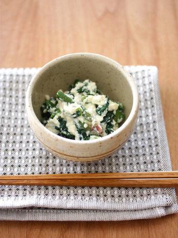 淡白になりがちなお野菜に複雑な旨みをプラスしてくれる塩麹。滑らかな白和えに加えて新しい味付けを。