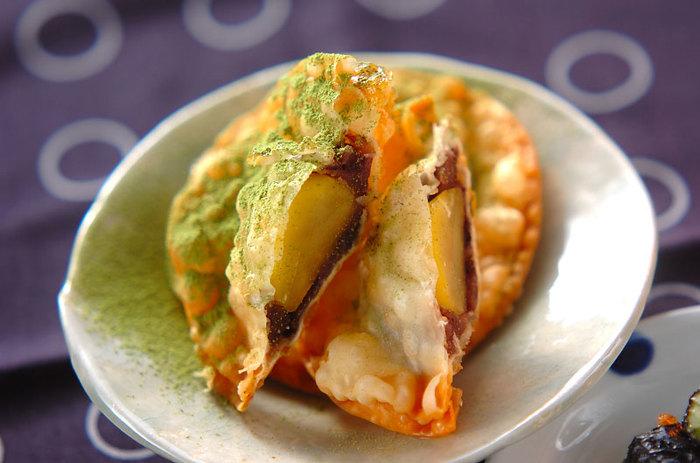 小豆と栗を餃子の皮で包んで揚げる、栗と小豆のパリパリ揚げ。餃子の皮が余ったら、翌日のおやつにいかがでしょうか。ただし、あまりの美味しさに食べ過ぎ注意かも。