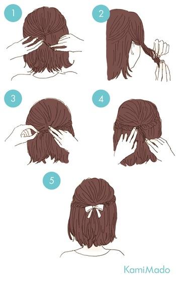 サイドを編みこまず、ねじって留めるだけでも手のこんだ印象に。結び目にリボンや、ヘアアクセサリーをつければ印象もがらりと変わるのでおすすめです。