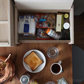 もちろん、蓋を裏返して使ってもOK!食パンと一緒に、キッチン周りの細々とした物を一緒に収納すれば、いつでもすっきり美しいキッチンをキープできますよ。