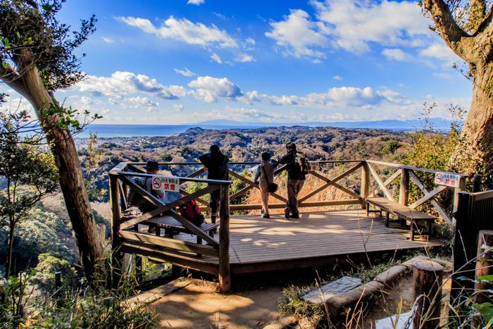 山頂からは、鎌倉の街並みや相模湾、富士山を見ることも出来るんです。小さな山ですが、たっぷりと自然を楽しみながら本格的なハイキングが出来ますよ。