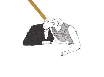 「踏み出せるか」  タキシード姿の男の人に、何やら耳打ちをする女の人。二人の間からスッと伸びたラインに、躊躇する気持ちが表れているよう。