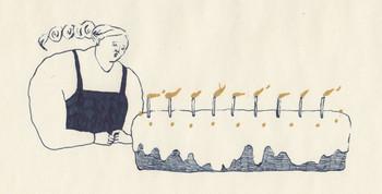 「ここにあるということ」  大きなケーキのろうそくを消そうとしている女の子。なんだかどこか寂しげです。ケーキ=お祝い事という考えに結びつかないこちらのイラストを見ていると、とても不思議な感覚に。 揺れるケーキとろうそくの火だけが、印象的に色が使われています。