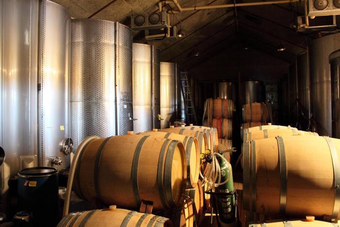 醸造棟内部。樽にはシャルドネ、左側にあるステンレスタンクにはナイアガラが、世に出る日を待っています。