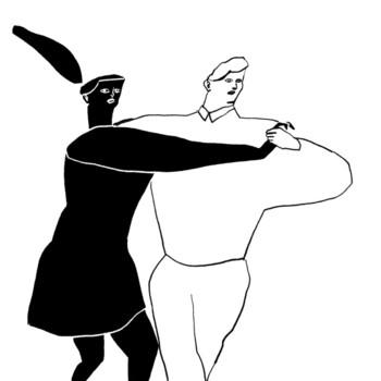 「もう躍ってしまえばいいじゃない」  踵を返して潔く踊る2人。白い男の人と真っ黒な女の人。正反対な2人からは、踊ることで全てを忘れてしまおう。今は踊って水に流そう。そんなことを考えているように感じます。色のコントラストや跳ね上がる髪からは、意思の強さを感じました。