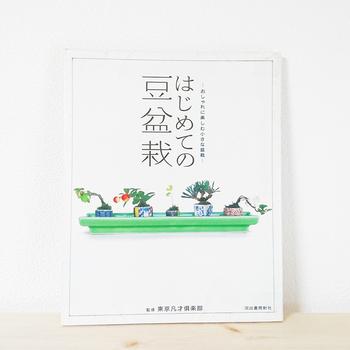 「はじめての豆盆栽」(東京凡才倶楽部監修・河出書房新社)では、盆栽の購入から土や道具、お手入れ方法まで、初心者が聞きたい情報が一冊にまとめられています。写真も一点一点とてもおしゃれで、モダンな盆栽の気軽な楽しみ方を教えてくれます。 こちらの書籍では豆盆栽を「樹高3~10cmほどの小さな盆栽」、小品盆栽を「樹高10〜20cm程度の盆栽」として紹介しています。