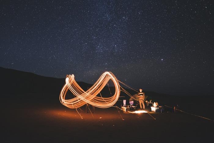 花火を手に持って絵や文字を描き、ロングシャッター(バルブ)で光の軌跡を撮影する「花火文字」はInstagramなどでも人気。薪を使えば、自然な炎の色で「焚き火文字」が楽しめそう。実践するときはくれぐれも周囲や安全に気をつけて。
