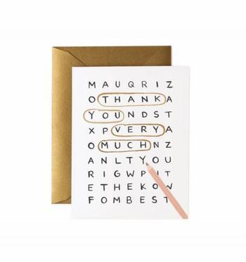 まるで言葉遊びのようなポストカードは、シンプルですがメッセージ性は抜群。感謝の気持ちがしっかりと伝わりそうですね。