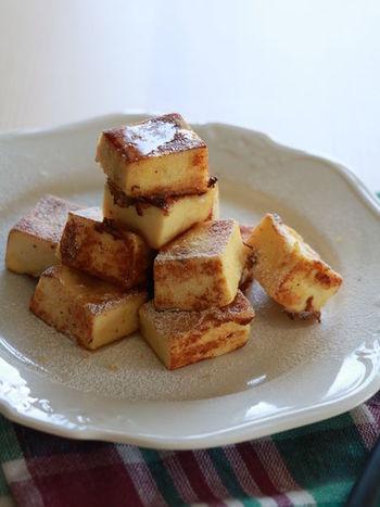 高野豆腐はなんとスイーツにもなるんです。パンと同じく卵液につけこんで焼くだけ。糖質が気になる人にもいいですね。