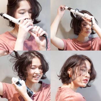 ハーフスタイルに限りませんが、まとめ髪やアレンジをするときはあらかじめ髪を巻いておくとボリュームが出るのでおすすめです。