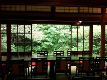 入り口で注文を済ませて中へ進むと、「書院」と呼ばれる大広間に到着します。格子戸の向こうに広がるのは、緑豊かな庭園。季節によっていろいろな景色を見せてくれます。