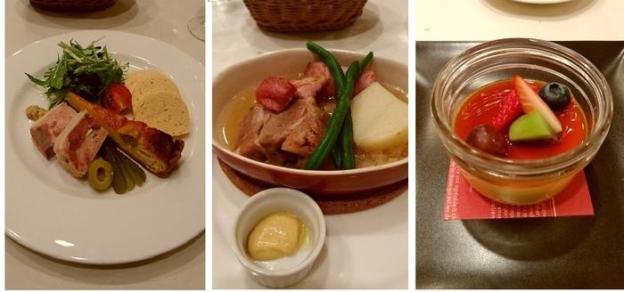 前菜「パテとキッシュの盛り合わせ」、主菜「アルザス風シュークルート」、デセール「クレームカラメル」。(筆者撮影)