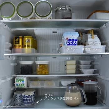 庫内に食材を戻す時に、使い勝手を考えて片付けましょう。人気ブログの「わが家のここち。」さんは、100均や無印のアイテムを使って収納しています。トレーを使えば倒れず、引き出して使えるので便利ですね。