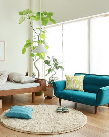 面積の大きなソファ、そしてクッション、スリッパにアクセントカラーを配置した印象的な例。空間がグッと華やかに仕上がっていますね。